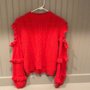 Red Ruffle cut out sweater